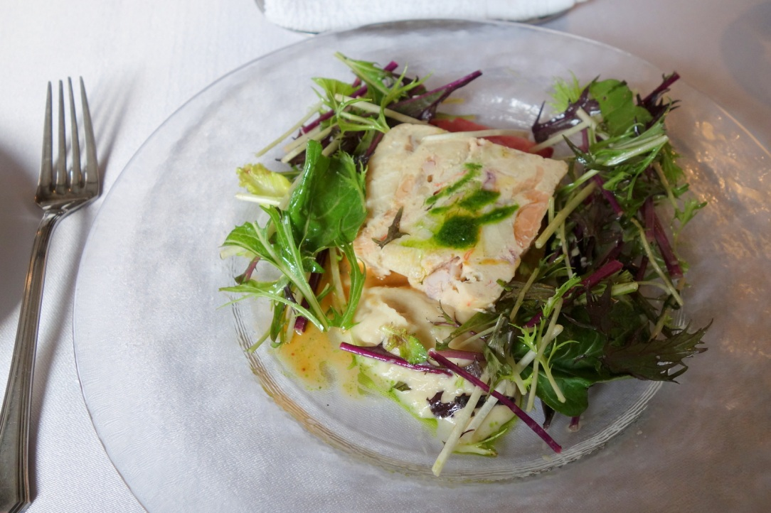 Seafood terrine with some mash